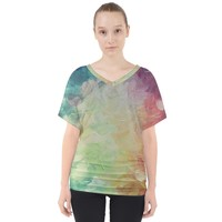 Painted Canvas V Neck Dolman Drape Top V-Neck Dolman Drape Top