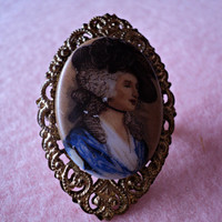 Vintage Portrait Brooch Made in Western Germany Beautiful Painted Porcelain in Brass Filigree Setting Cottage Chic Victorian Style Jewelry