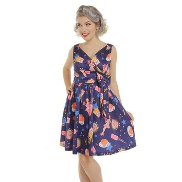 'Harper' Purple Pop Diner Print Swing Dress by LindyBop