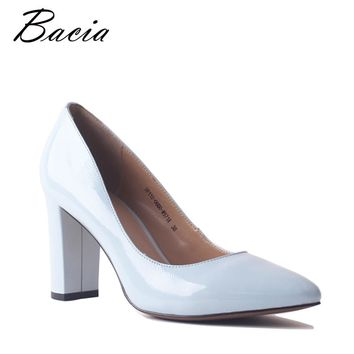 Bacia Blue Cow Leather Pump Elegant Women Genuine Leather Shoes Fashion Square High Heels Shoes Pointed Toe Handmade Pumps SA090
