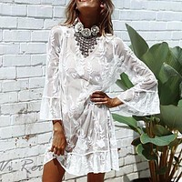 Embroidered lace blouse sexy mesh flares ruffled sleeves beach holiday pullover dress