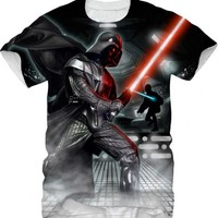 Star Wars Darth Vader All Over Graphic Print Red Light Saber Adult White T-shirt - Star Wars - | TV Store Online