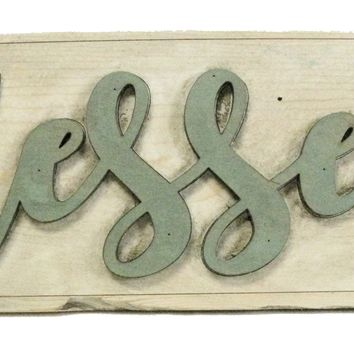 """BLESSED"" Retro/Shabby-Chic Wooden Sign"