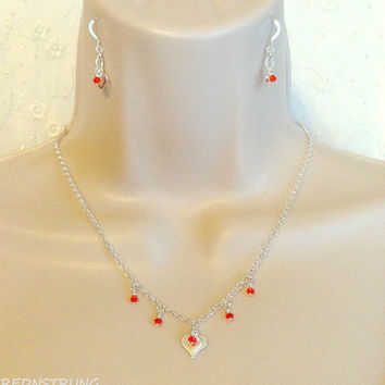 Sterling Silver and Red Crystal Heart necklace set, Gift for her, Minimalist Jewelry, Heart necklace set, Sterling silver Jewelry, Love