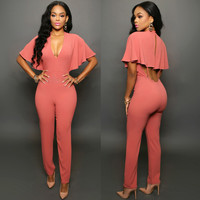 Deep V-Neck Draped Sleeves Cutout Back Jumpsuit