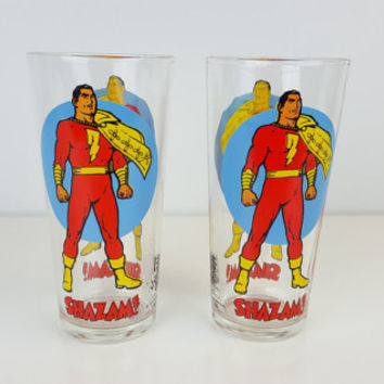 Vintage Shazam Moon Glass Pepsi DC Comics Super Series 1976 Bright Colors Shazam Captain Marvel Collectible Glass Drinking Glass Super Hero