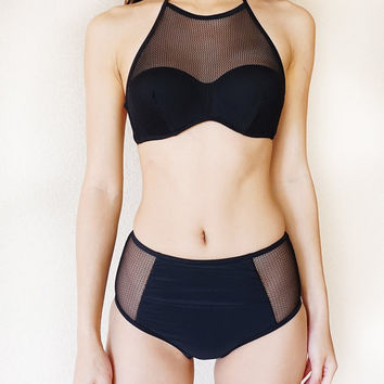 Black Mesh High Neck Halter Top Bikini Two Piece Mesh Panels Semi Sheer High Waisted Swimsuit