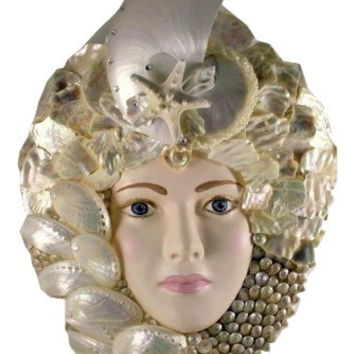 White Pearl Seashell Queen Collectible Art Mask