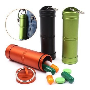 Keychain With Waterproof Aluminium Pill Box/Pill Container/Medicine Bottle For Emergency & Survival Kits