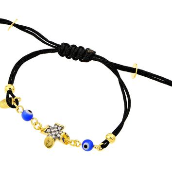 .925 Sterling Silver Gold Plated Cross Evil Eye Clear Cubic Zirconia Black Cord Bracelet