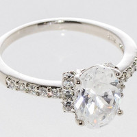 Sterling Silver Solitaire Ring CZ Cubic Zirconia Oval Center Stone 7mmx10mm