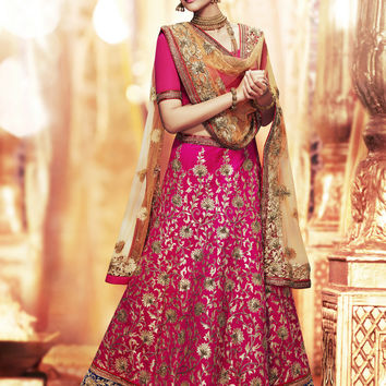 Women's Dupioni Raw Silk Fabric & Pink Pretty Unstitched Lehenga Choli