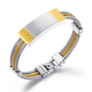 Three rings steel wire braided rope wristband Smooth surface with Fret pattern Man's bracelet