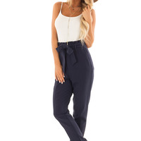 Navy High Rise Linen Trousers with Waist Tie