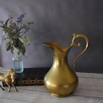 Brass Pitcher/ Brass Water Pitcher/ Brass Vase/ Vintage Pitcher/ Bohemian Decor/ Pitcher/ Brass Centerpiece/ Gold Decor/ Wedding Centerpiece
