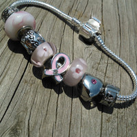 Murano Charm Bracelet - Breat Cancer Awareness Murano Glass European Charm Bracelet