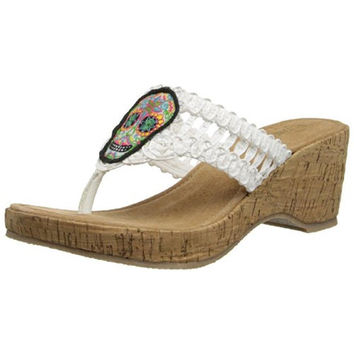 Grazie Womens Dios Skull Patch Thong Wedges
