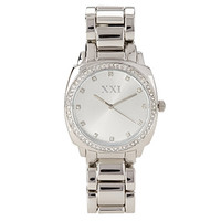 FOREVER 21 Rhinestone Analog Watch Silver One
