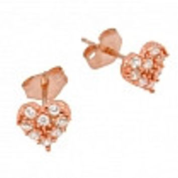 ROSE GOLD PLATED PAVE CZ HEART POST EARRINGS: EARRING