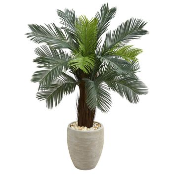 Artificial Tree -4.5 Foot Cycas Tree In Oval Planters