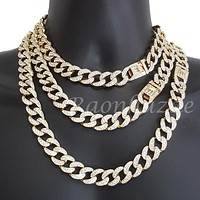 "Quavo 14k Gold PT 16mm 16""- 30"" Miami Cuban Link Choker Chain Necklace"