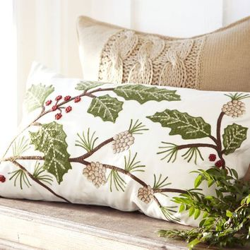 Holly Berry Embroidered Lumbar Pillow Cover