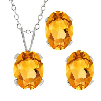 3 Ct Yellow Citrine Oval Stud Earrings & Pendant  .925 Sterling Silver Rhodium Finish