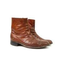Vintage Beatle Boots Brown Leather HIpster Boots Mens Side Zipper Chelsea Boho Zip Up Ankle Florsheim Boots Men's Size 10.5 D