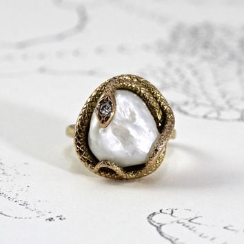 Victorian Snake Ring, Antique 14k Large Baroque Pearl & Diamond Serpent, Art Nouveau Eternity Knot, Ouroboros Boho Eternal Love Token Ring