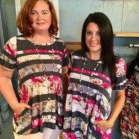 Magenta and Charcoal Striped Floral Blouse