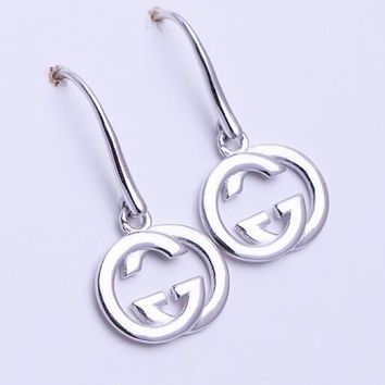 GUCCI S925 Silvery Trending Women Stylish Double G Pendant Earrings Accessories Jewelry