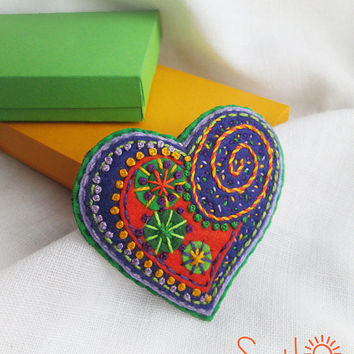 Happy heart. Orange Red State Blue Green Fireworks.Folk Art Felt brooch. Valentine's Day gift. Hand embroidery. French knot. Gift for her.