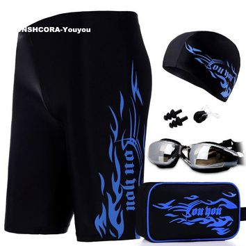 2017 New 5 Piece Set Men's Swimming Trunks for Bathing High Elasticity Beach Swimwear Swimsuit Men Cap High-definition Glasses