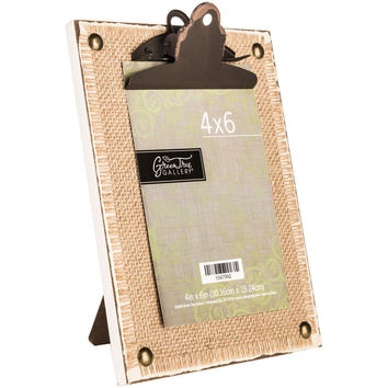 Burlap Wood Frame with Distressed Clip | Hobby Lobby