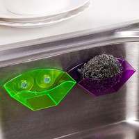 Useful Double Suction Cup Sink Shelf Soap Sponge Drain Rack Kitchen Sucker Storage Tool #77345