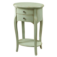 "Antique Green Veneer 29""H Accent Table with 2 Drawers"
