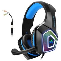 ONETOW Gaming Headset with Mic for Xbox One PS4 PC Nintendo Switch Tablet Smartphone, Headphones Stereo Over Ear Bass 3.5mm Microphone Noise Canceling 7 LED Light Soft Memory Earmuffs(Free Adapter)