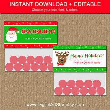 Christmas Treat Bag Toppers - Printable DIY Party Favors - EDITABLE in Adobe Reader - Holiday Bag Tags Christmas Labels - INSTANT Download