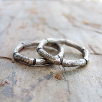 Stacking Set of 2 Hand Carved Bamboo Rings in Sterling Silver