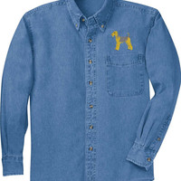 Personalized Embroidered Airedale Terrier Denim Shirt - Women Men Dog Lover Pet Dogs