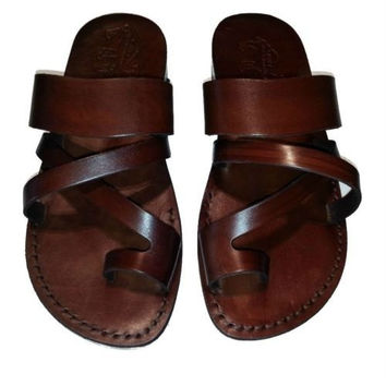 New Unisex Brown Pharaoh Sandals Leather Strap Sandal Flip Flops Shoes Size EU 35-46