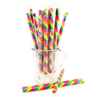 Rainbow Cherry Candy Stick Straws: 16-Piece Tray