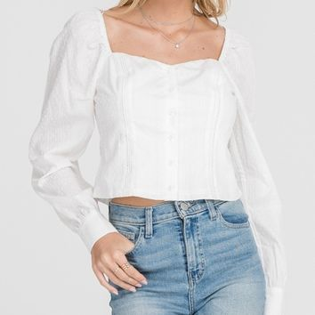 White Square Neckline Top