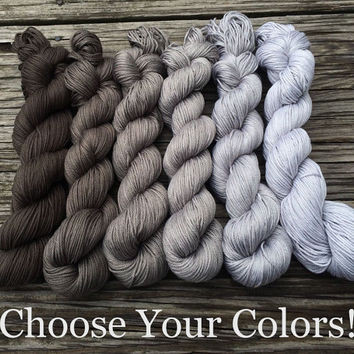 CUSTOM Gradient Yarn Set - Choose Your Colors and Base - Hand Dyed Cotton Yarn - Worsted Weight Yarn - DK Yarn - Fingering Yarn - Sock Yarn