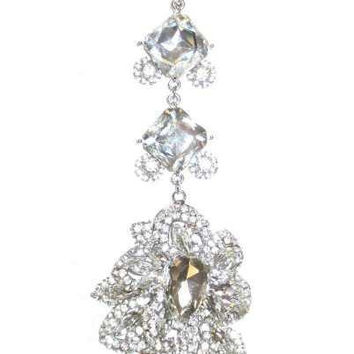 Princess Cut And  Pear Shape Crystals  Christmas Ornament. Clear,Silver