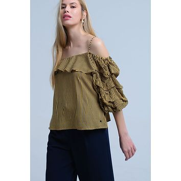 Mustard Off The Shoulder Striped Ruffle Blouse