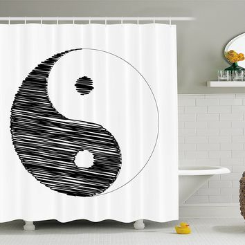 Asian Artist Yin Yang Fabric Shower Curtain