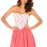 White Lace Embellished Pink Strapless Dress