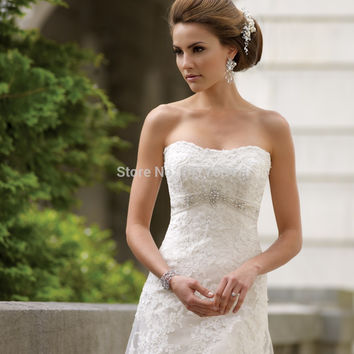 Beautiful Strapless A Line Wedding Dresses Lace Backless Bridal Gowns With Train 2015 Custom Made