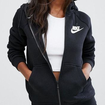 LMFON Nike Women's Zip-Up Hoodie Black Jacket